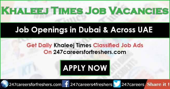 Khaleej Times Jobs Classified in Dubai Today Updates - Sept 2019