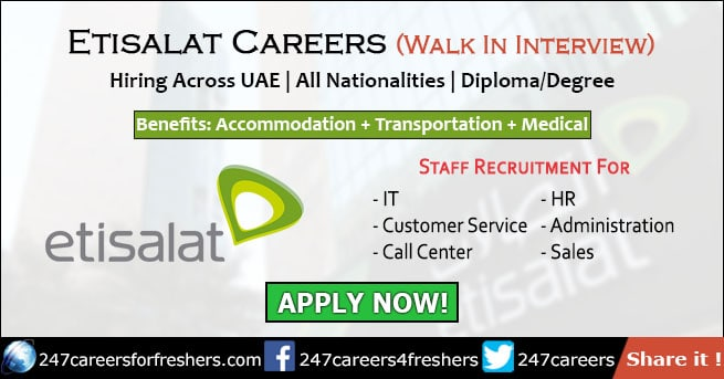 Etisalat Careers 2019 - Emirates Telecommunications